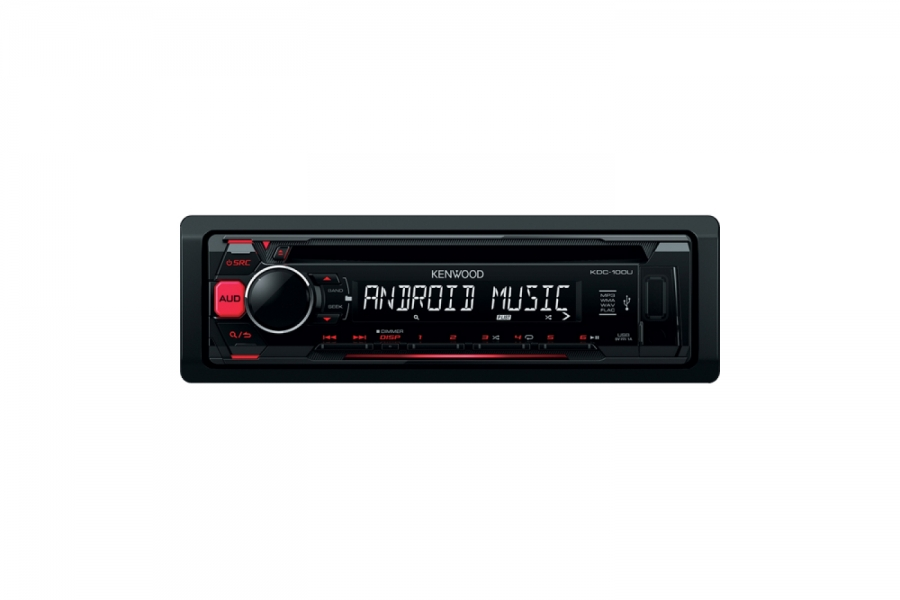 CD Receiver KDC 100UR Key Features 4 X 50W Max Output Power 1 RCA Preout 25V Full Detachable Faceplate Android MSC AOA2 Compatible MP3 WMA